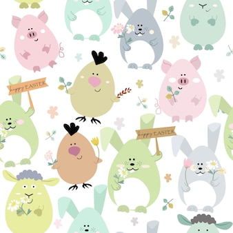 Seamless pattern cute animal happy on easter day.