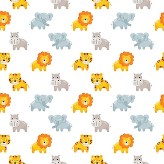 Seamless pattern cute animal icon set for kids isolated on white .