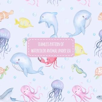 Seamless pattern cute animal under sea