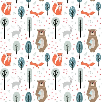 Seamless pattern. cute animals on the background of the forest, trees, plants. bear, fox, squirrel, hare. forest animals.  illustrations in the scandinavian style