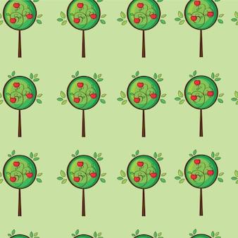 Seamless pattern cute apple tree in vector