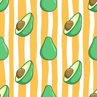 Seamless pattern of cute avocado with colored doodle style