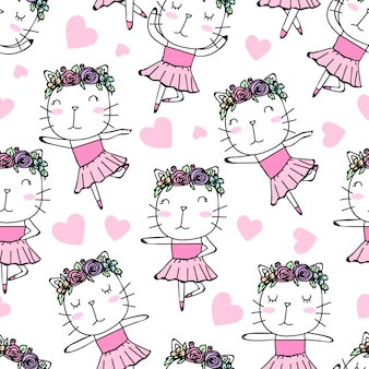 Seamless pattern cute ballerina cat hand drawn