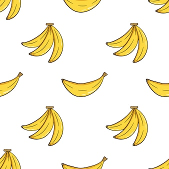 Seamless pattern of cute banana with doodle style