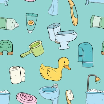 Seamless pattern of cute bathroom elements with doodle style