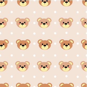 Seamless pattern of cute bear vector on pastel tone color.