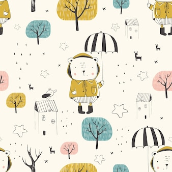 Seamless pattern cute bear with umbrella in the autumn forest hand drawn vector illustration