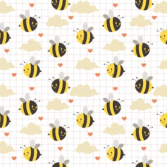 The seamless pattern of cute bee and cloud and heart on the white background. the pattern of cute bee. the pattern of cute cloud with polka dot. the character of cute bee in flat  style.