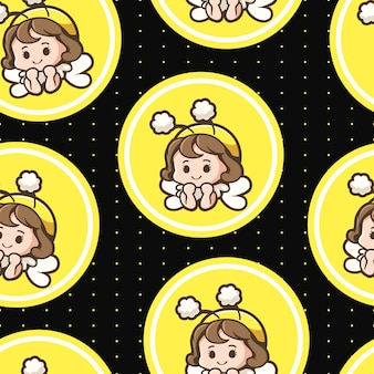 Seamless pattern cute bee girl
