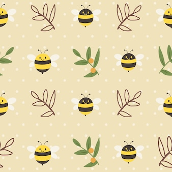 The seamless pattern of cute bee and leaves on the yellow background with polka dot in flat  style.