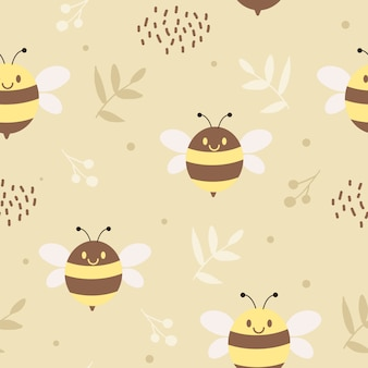 The seamless pattern of cute bee and leaves on the yellow background with polka dot in flat style