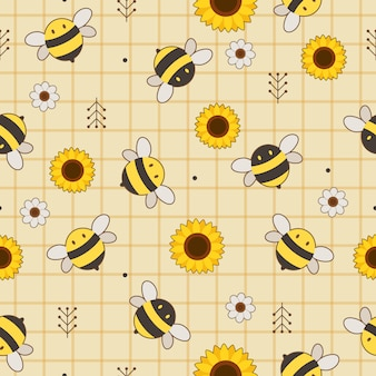 The seamless pattern of cute bee and sunflower and white flower on the yellow background.
