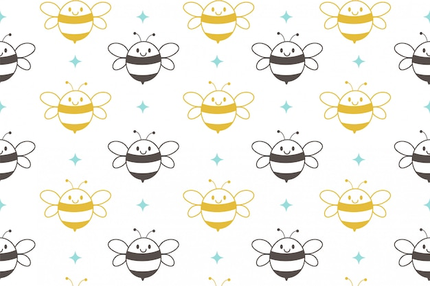 The seamless pattern of cute bee on the white background.