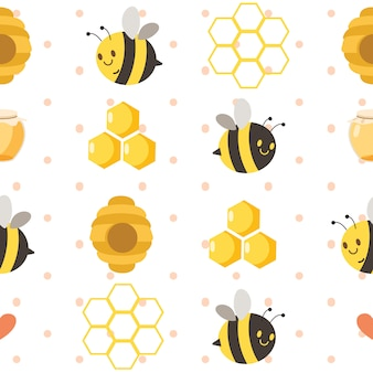 Seamless pattern of cute bee with honey jar and hexagon