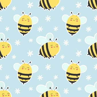 Seamless pattern cute bees.