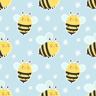 シームレスパターンかわいい蜂。