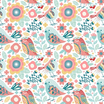Seamless pattern cute bird with colorful flower and foliage