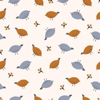 빛 배경에 원활한 pattern.cute 새입니다. 벡터 일러스트 레이 션