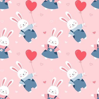 Seamless pattern cute bunnies. cartoon print for packaging, fabric, wallpaper, textile.