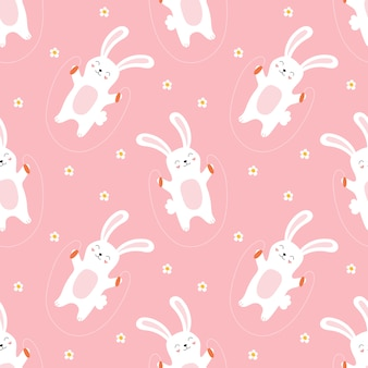 Seamless pattern of cute bunnies jumping rope for children.