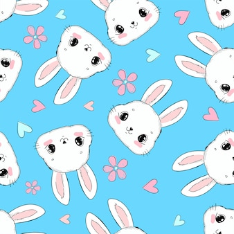 Seamless pattern cute bunny and flowers