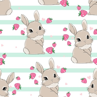 Seamless pattern cute bunny with strawberry background. berry sweet. print for children's textiles, poster design, nursery. rabbit. illustration stock.