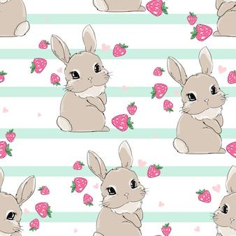 イチゴの背景を持つシームレスパターンかわいいバニー。ベリー甘い。子供用テキスタイル、ポスターデザイン、保育園の印刷。ウサギ。イラスト素材。