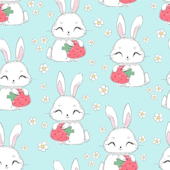 Seamless pattern cute bunny with strawberry and flowers