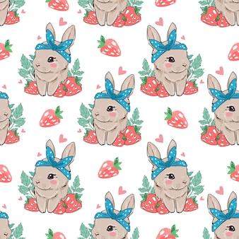 원활한 패턴 흰색 배경에 딸기와 귀여운 토끼. 베리 달콤한.