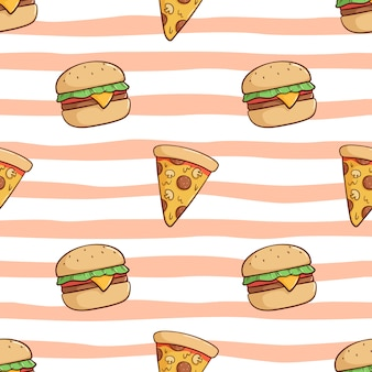 Seamless pattern of cute burger and pizza slice with doodle style