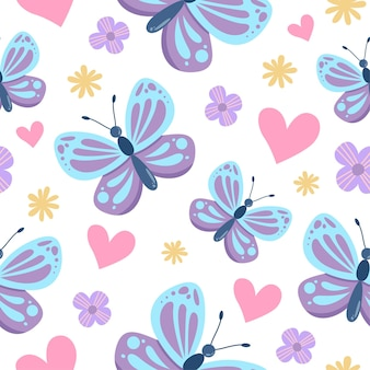 Seamless pattern of cute butterfly cartoon with heart