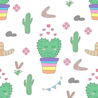 Seamless pattern cute cactus cartoon hand drawn style.