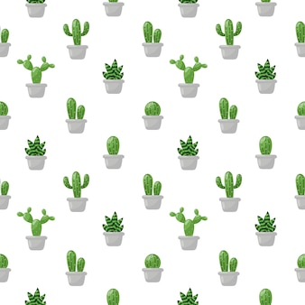Seamless pattern cute cactus cartoon isolated on white .