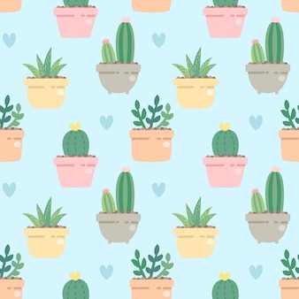 Seamless pattern cute cactus in side the pot on blue