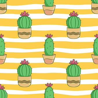 Seamless pattern of cute cactus for summer concept with colored doodle style