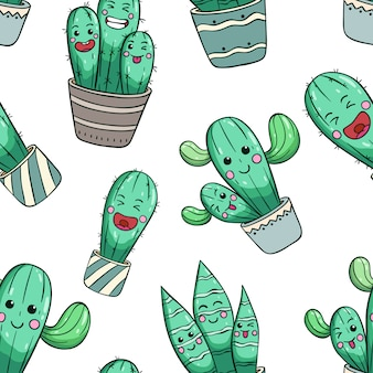 Seamless pattern of cute cactus with kawaii face or expression