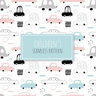 Seamless pattern of cute cars