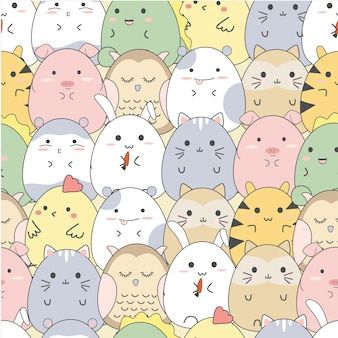 シームレスパターンかわいい漫画動物