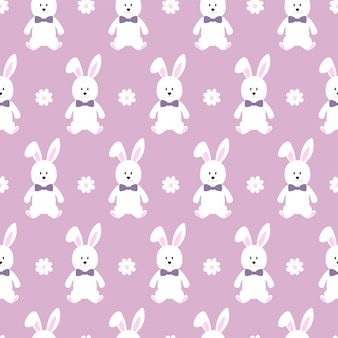 Seamless pattern of cute cartoon character bunny and floral elements.