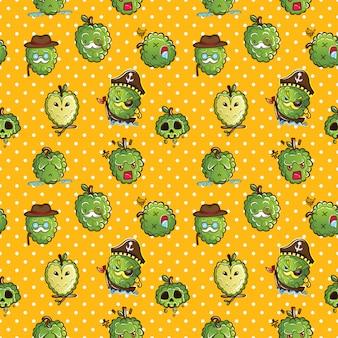 Seamless pattern cute cartoon custard apple character.
