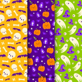 Seamless pattern of cute cartoon ghosts and pumpkins