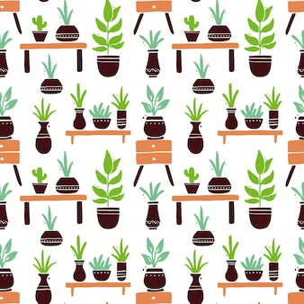 Seamless pattern of cute cartoon house plant with leaf and pot