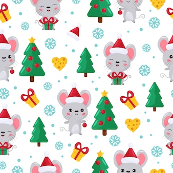 Seamless pattern. cute cartoon kawaii mouse with christmas tree and gifts.