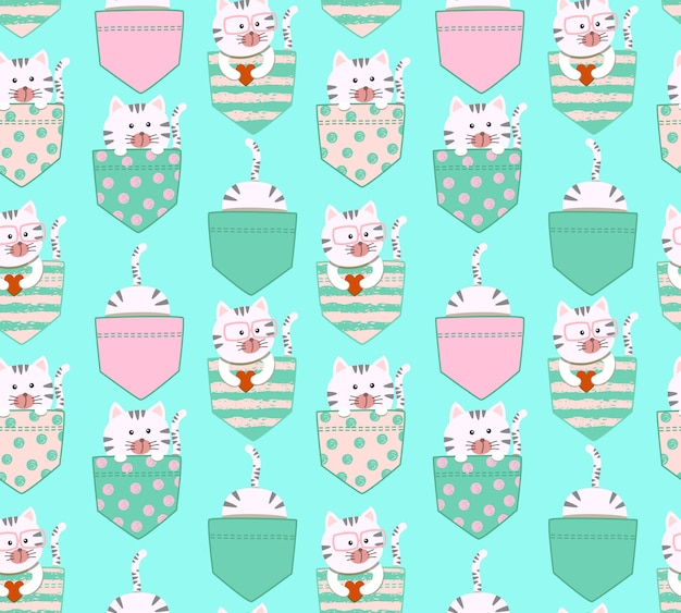 Seamless pattern cute cartoon little white and gray cat kitty