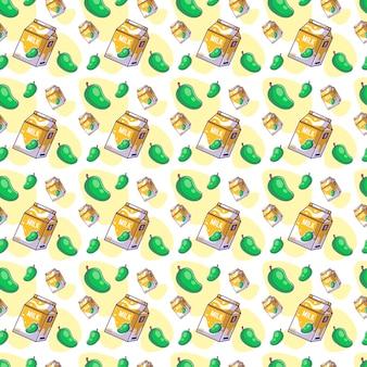 Seamless pattern cute cartoon mango with milk