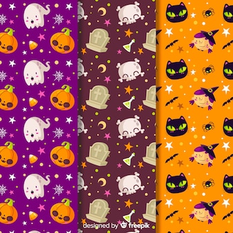 Seamless pattern of cute cartoon monsters