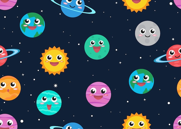 Seamless pattern of cute cartoon planets in space background