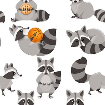 Seamless pattern of cute cartoon raccoon cartoon animal character design illustration