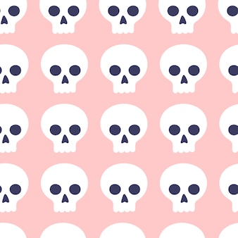 Seamless pattern of cute cartoon skulls on a pink background. attributes for magic and witchcraft. hand drawn
