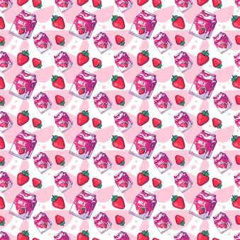 ミルクとシームレスパターンかわいい漫画イチゴ